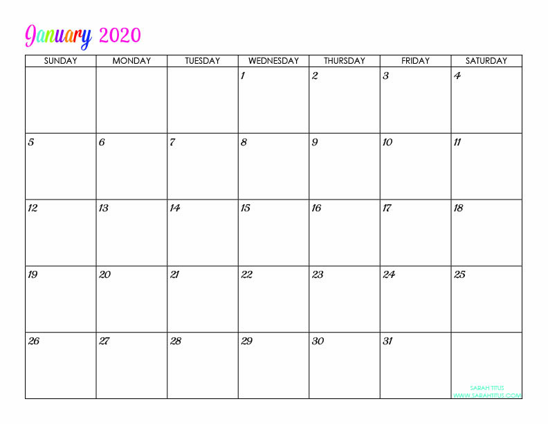 January Custom Editable 2020 Free Printable Calendar