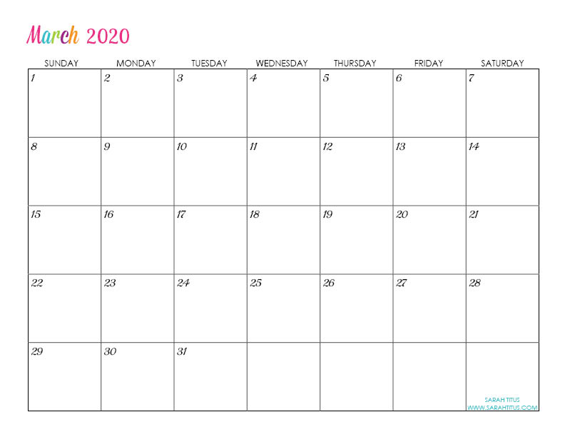 March Custom Editable 2020 Free Printable Calendar