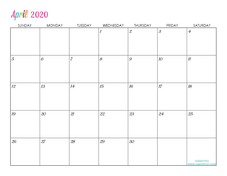 April Custom Editable 2020 Free Printable Calendar