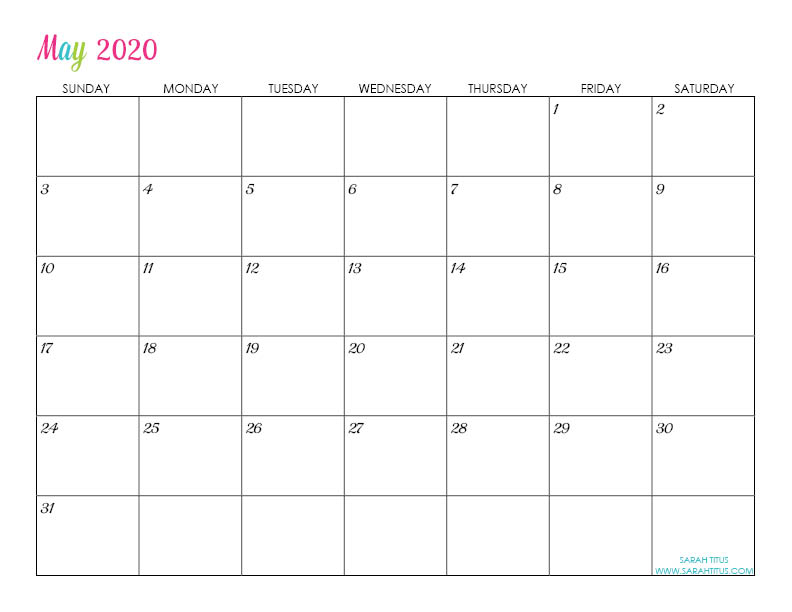 May Custom Editable 2020 Free Printable Calendar