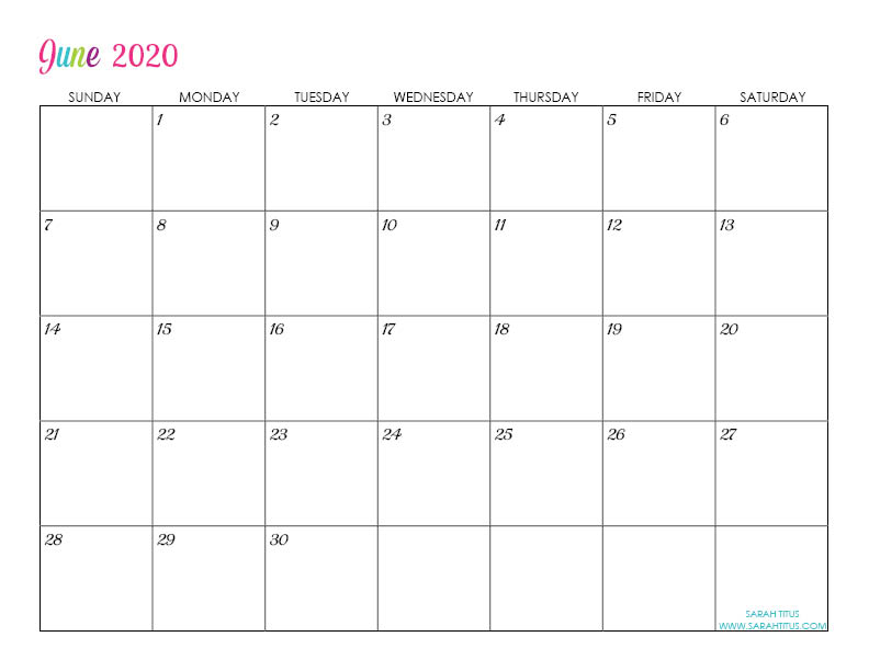 June Custom Editable 2020 Free Printable Calendar