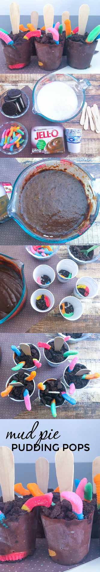 Anyone ever have Mud Pie as a kid? Here's an updated twist on an old fashioned favorite, these Mud Pie Pudding Pops are super cute and easy to make!