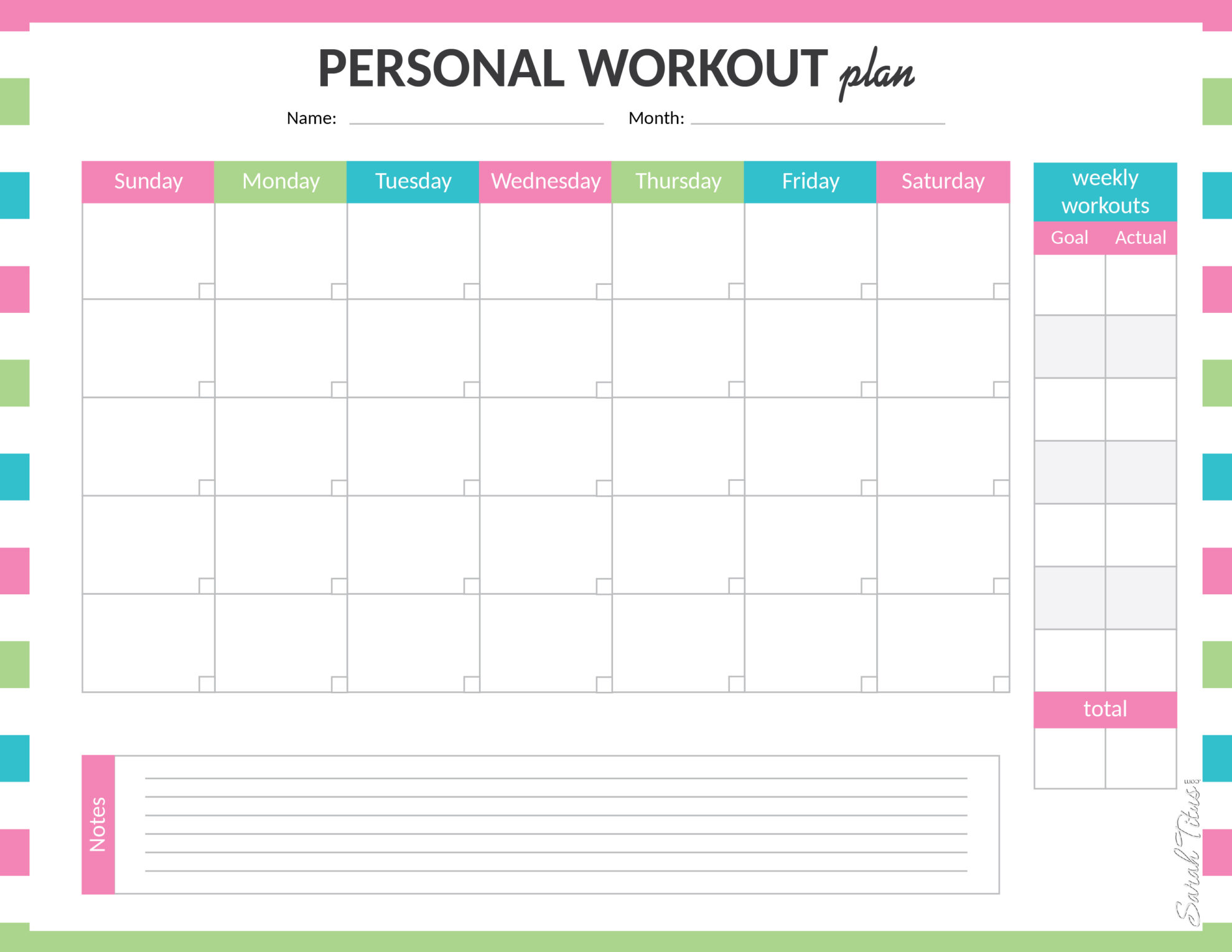 Medical Binder Personal Workout Plan