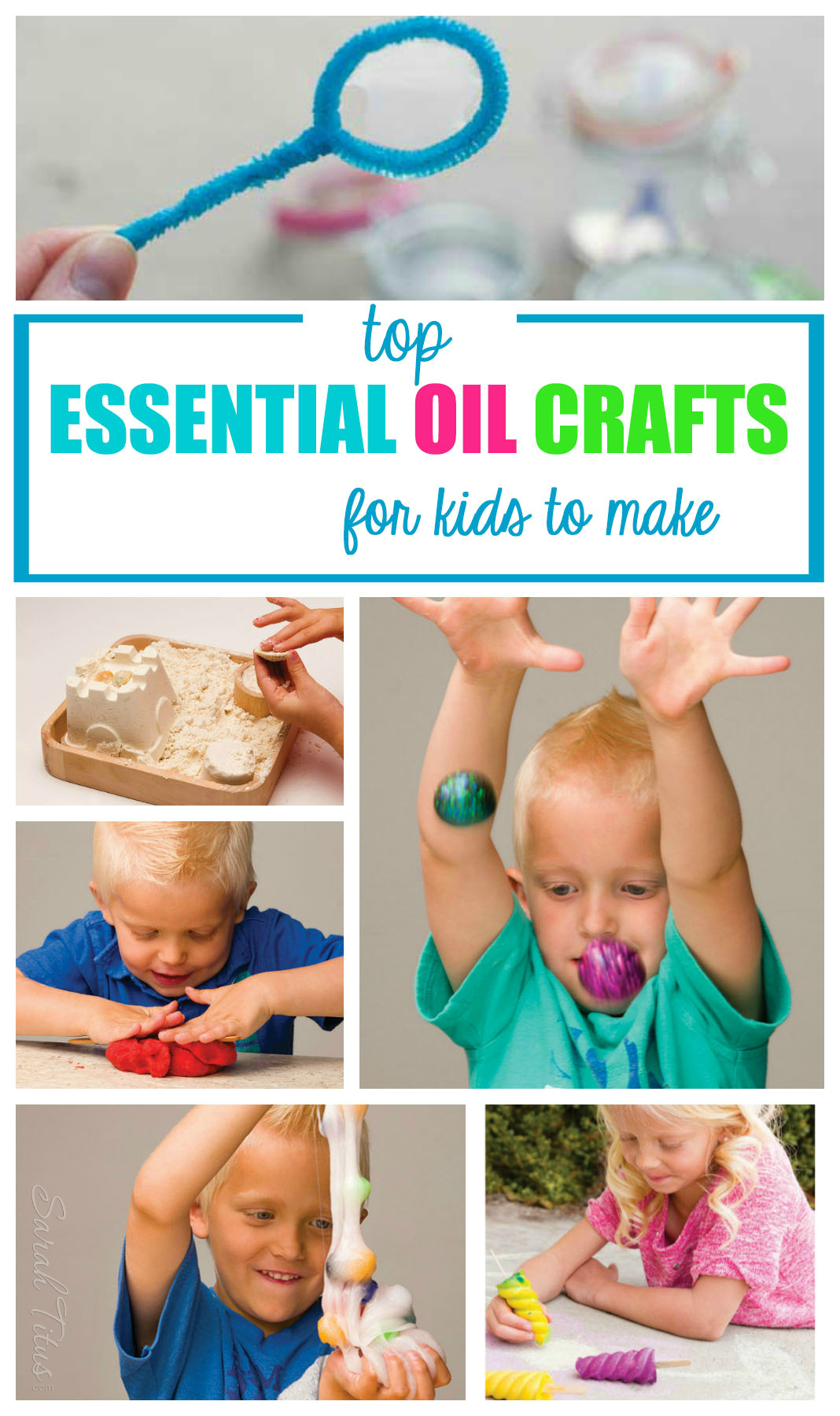 Top Essential Oil Crafts for Kids to Make: Chalksicles, bouncy balls, polka dot slime, bubbles, playdough, flubber, moon sand, kids paints.