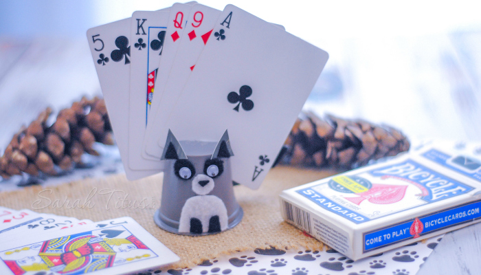 Raccoon K-cup Card Holder for kids playing card games to hold their cards for them