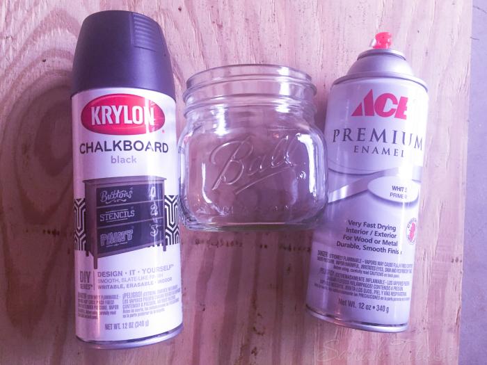 Chalkboard Painted Jar supplies of chalkboard paint, primer and a mason jar