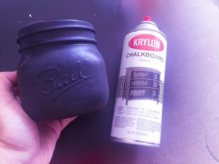 Chalkboard Painted Jar drying
