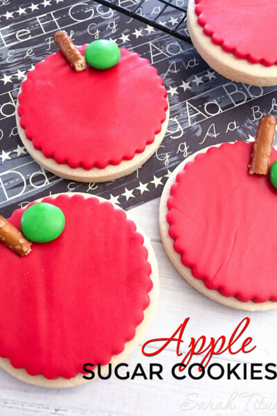 These apple sugar cookies are so cute and are a great recipe to make with your kids during apple season!