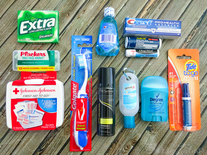 Items to go in Teacher Emergency Kit: gum, mouthwash, toothpaste, floss, bandaids, toothbrush, hairspray, antibacterial gel, deodorant and stain stick