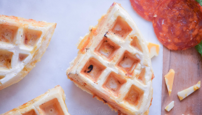 Pizza waffles with cheese and pepperoni