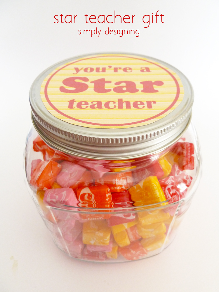 Who doesn't like Starburst candies?! So, this teacher appreciation gift is perfect. It's super simple to make...just grab a jar, some Starburst candies, and print the free tags on the post! That's it!