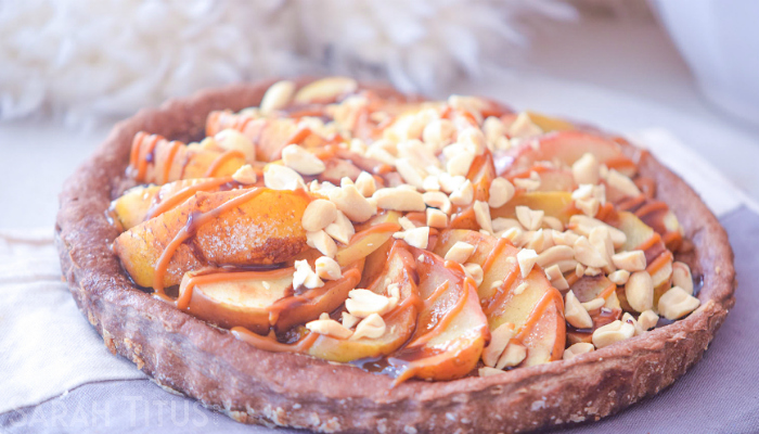 Caramel Delight Apple Pie with a combination of caramel apples and topped with sliced almonds