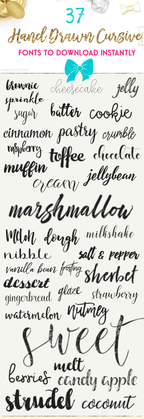 Examples of Hand Drawn Cursive Fonts to download