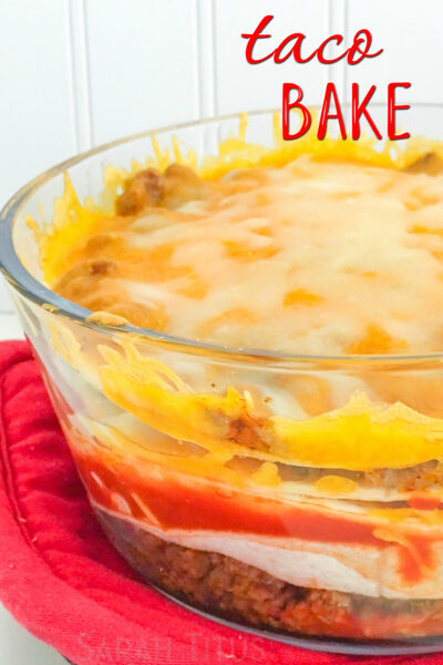A new take on Taco Tuesday- and super easy too! Yummy tacos get baked all in one dish in this delicious Taco Bake.
