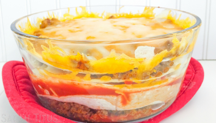 Appetizing big bowl of the completed beefy taco bake