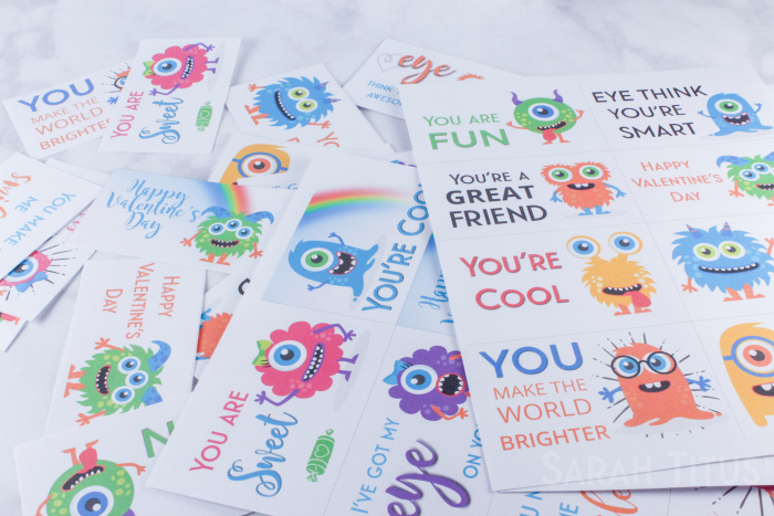 Adorable, colorful, printable monster Valentine's Day cards for kids