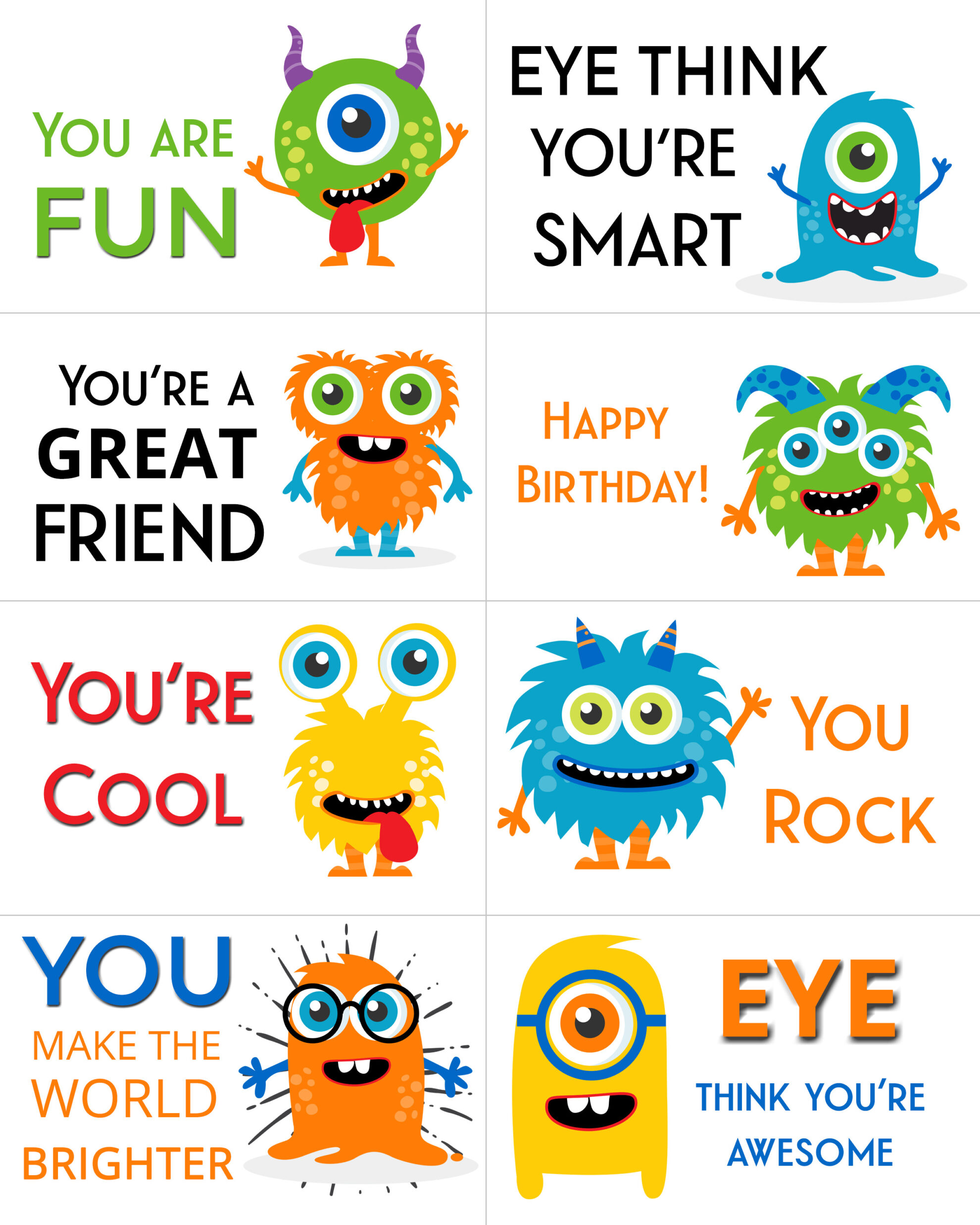 Show you care with these free printable adorable monster lunch box message notes perfect for your little ones school lunches!