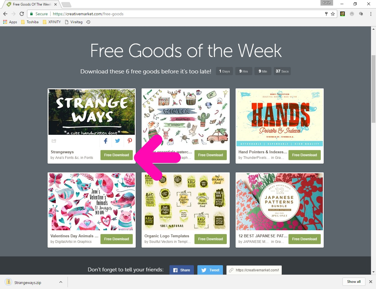 Free Download Button for fonts on Creative Market