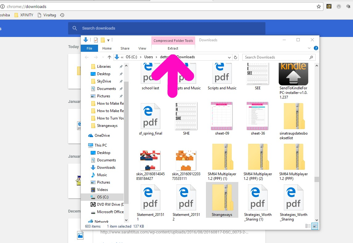 Computer screenshot showing how to extract files from a zipped folder