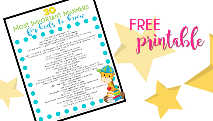 Color printable list of 30 most important manners for kids to know