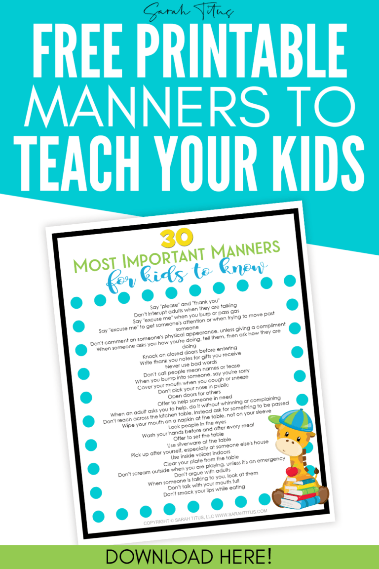 Teaching Kids Manners Printables