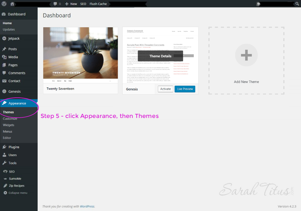 Wordpress dashboard theme page for viewing uploaded themes on mom blog
