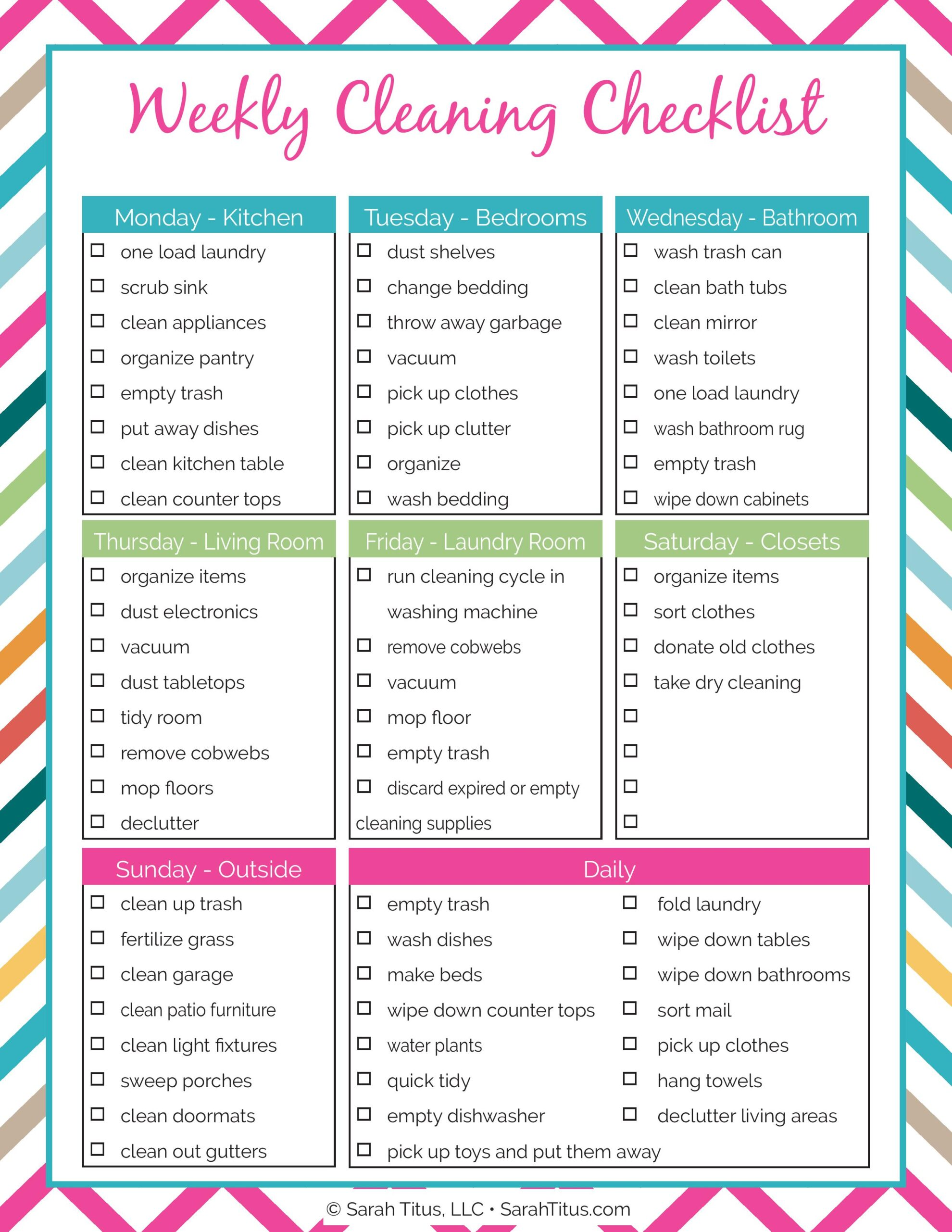 Cleaning Binder Weekly Cleaning Checklist