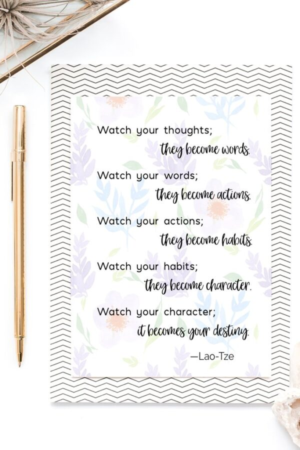 This is the perfect wall art printable to hang in your home to remind your family to watch their thoughts and words toward one another! #kindness #laotze