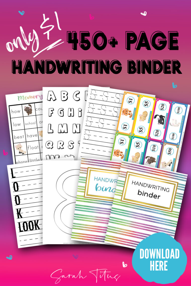 Grab this 450+ page Handwriting Binder for only $1 with special link