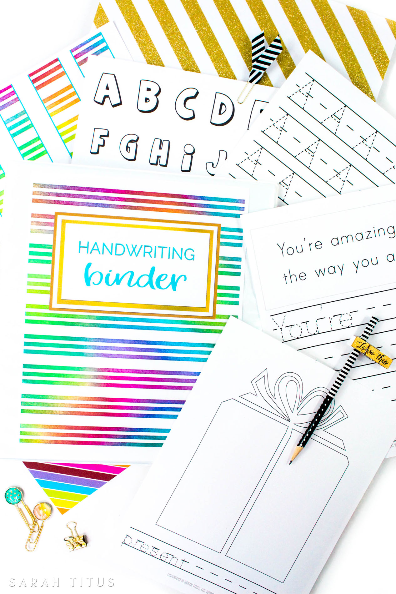 60+ page Handwriting Binder printables set includes, capital letters, tracing sheets, coloring pages, encouraging copy sentences...and more!