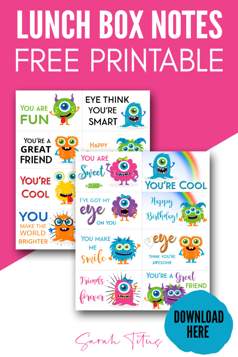 Show you care with these free printable adorable monster lunch box notes perfect for your little ones school lunches!