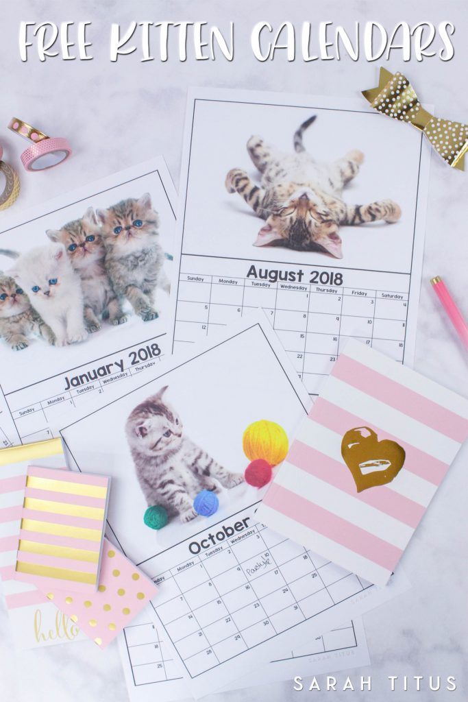 Free Printable 2018 Kitten Calendars! Use them for menu planning, homeschooling, blogging, or just to organize your life.