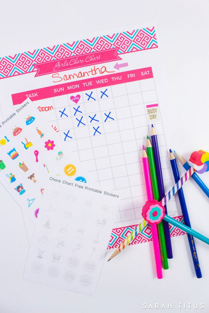 ThisFree Printable Chore Chart Stickers will motivate your kids to keep your home clean and organized! Plus there's also a cute version for them to color!