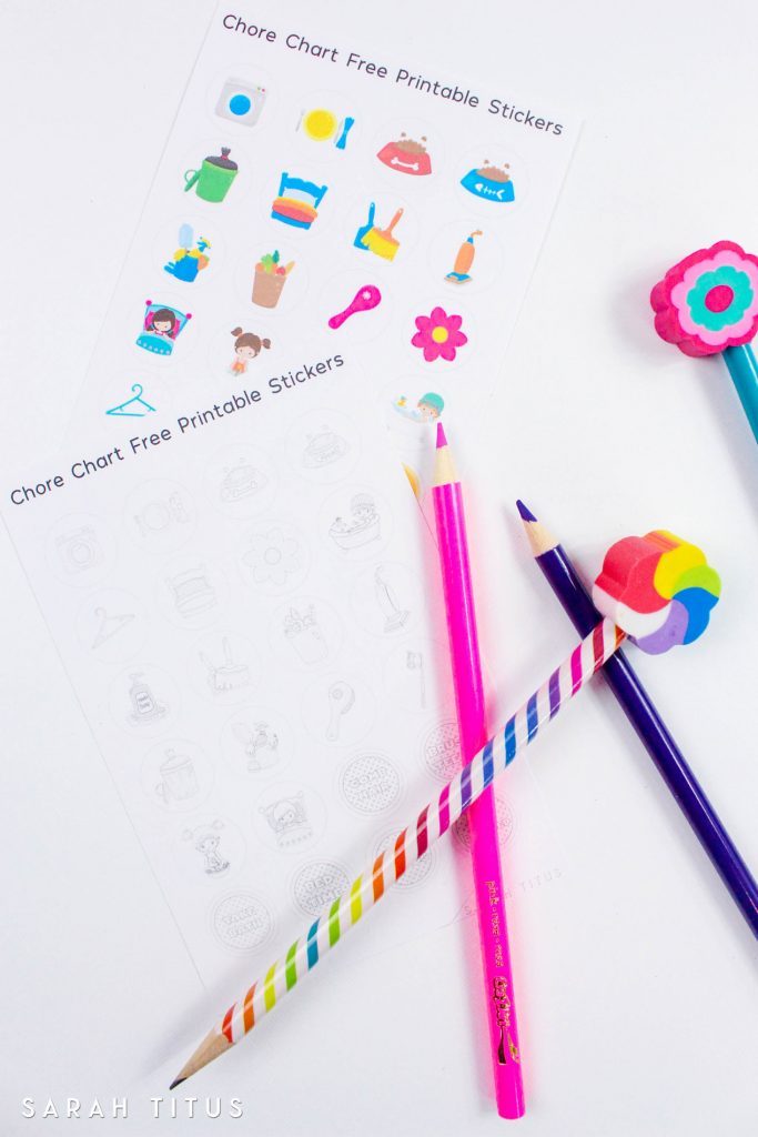 This Free Printable Chore Chart Stickers will motivate your kids to keep your home clean and organized! Plus there's also a cute version for them to color!