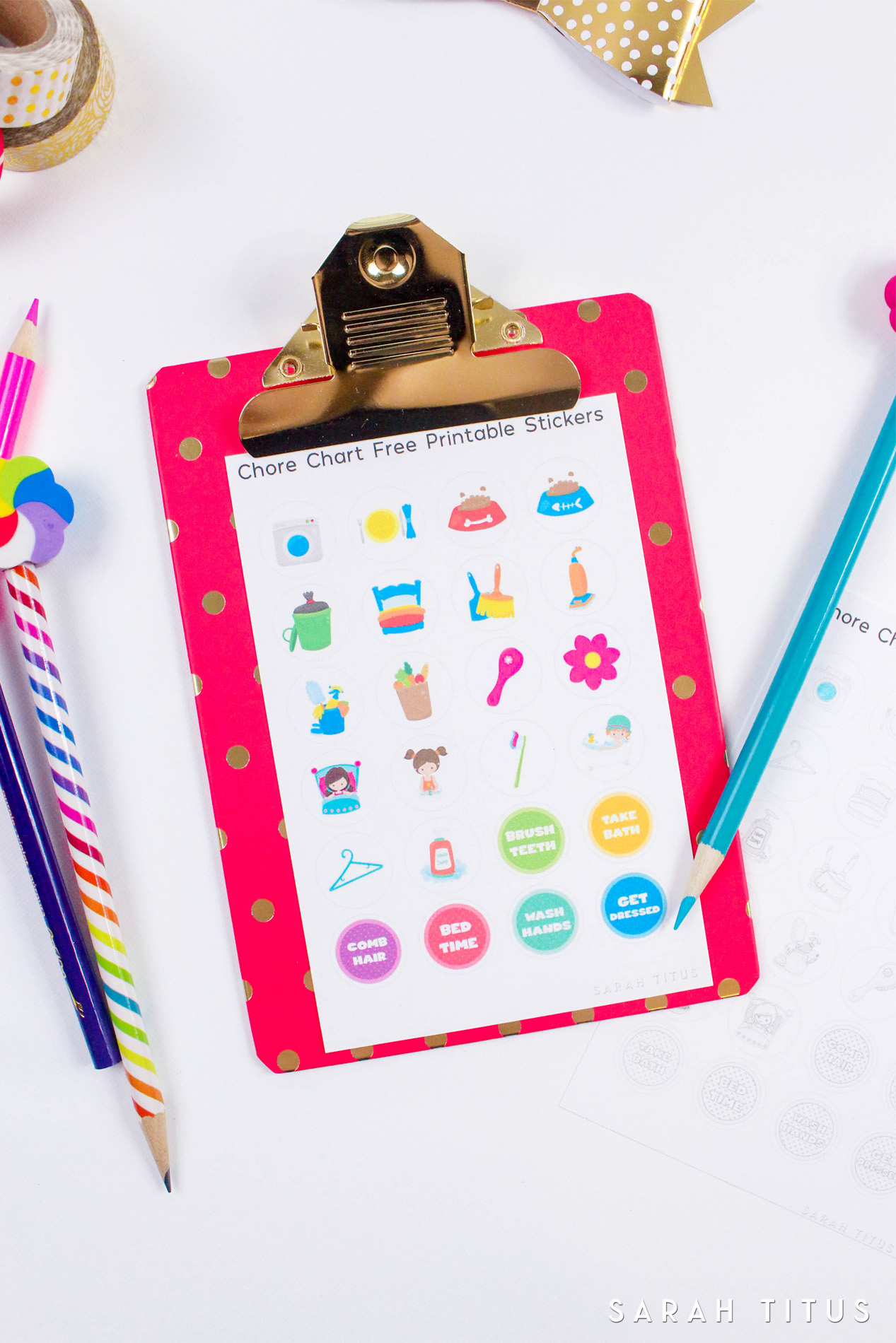 ThisFree Printable Chore Chart Stickers will motivate your kids to help keep your home clean and organized! Plus there's also a cute version for them to color!