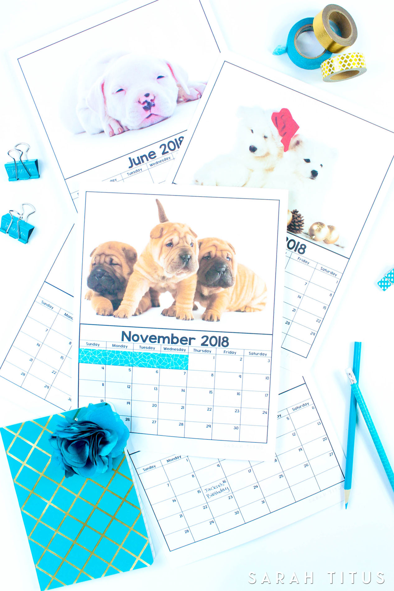 Cute Free Printable 2018 Puppy Calendars! Use them for menu planning, homeschooling, blogging, or just to organize your life.