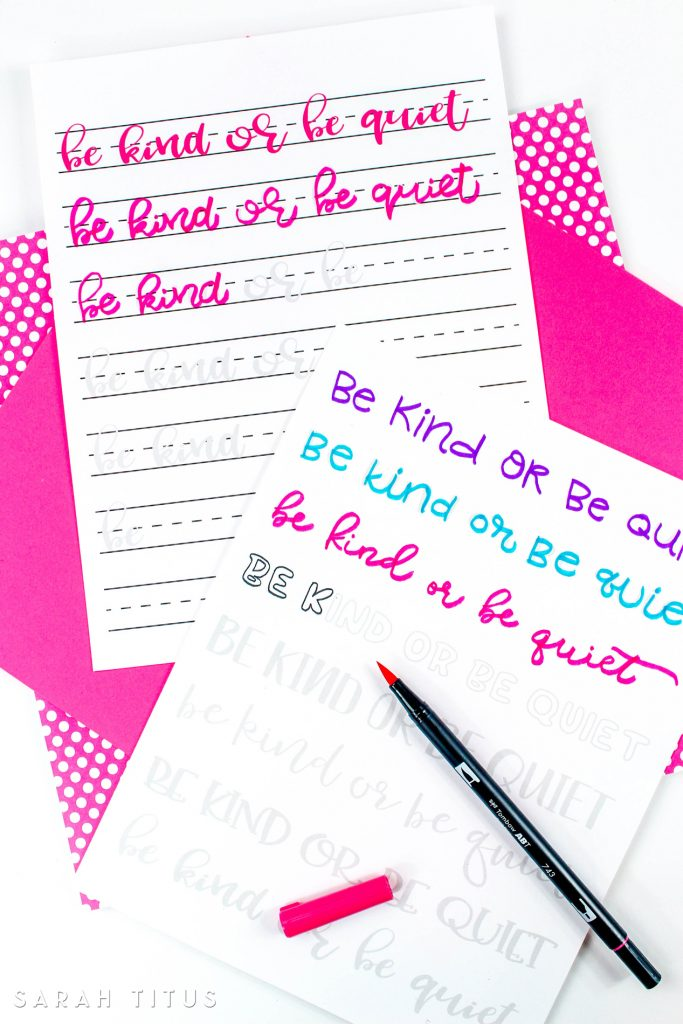 These Be Kind or Be Quiet Hand Lettering Worksheets are great for kids and grownups alike so you can practice together!