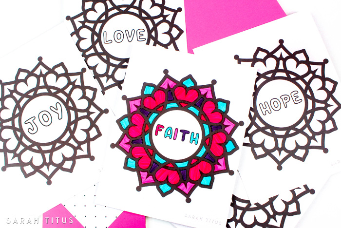 These Free Printable Faith Hope Love Coloring Sheets are especially fun to color because you get to mix and match colors to make patterns!!! Color any way you want. There's no right or wrong. Just relax and have some fun!