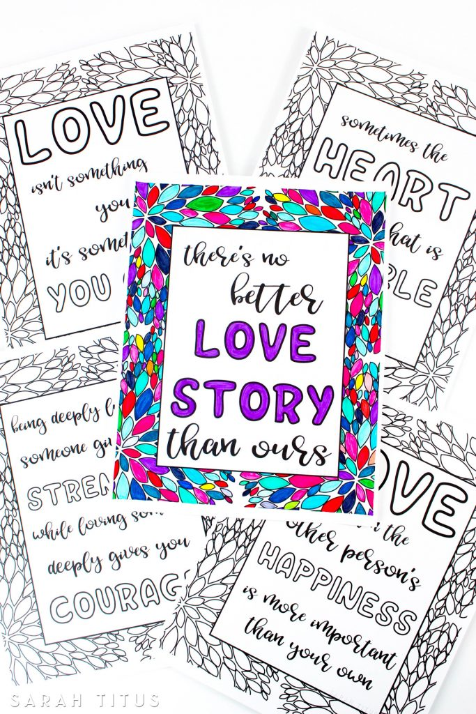 graphic about Free Printable Love Quotes identified as Free of charge Printable Delight in Rates Coloring Sheets - Sarah Titus