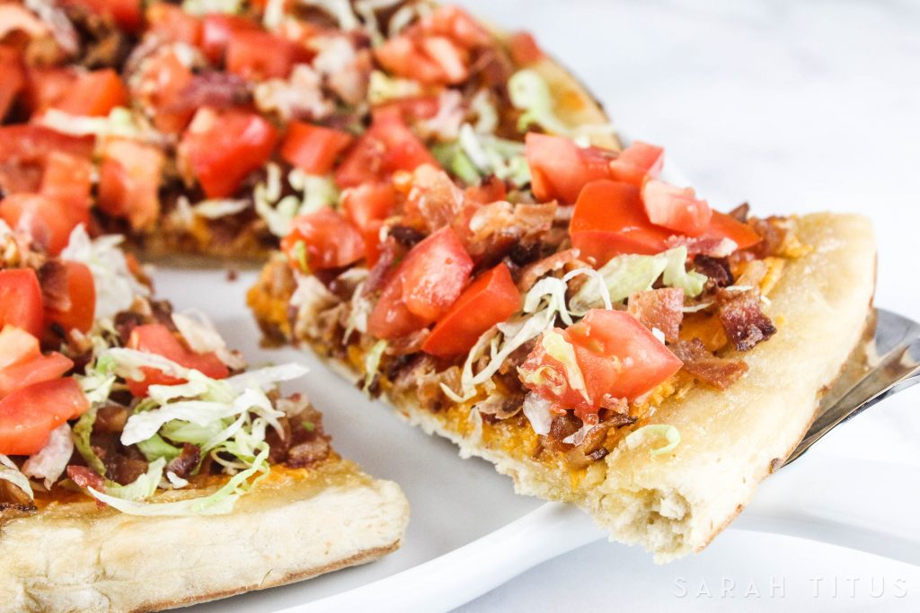 Have you ever been in a position where your family is really hungry and they want to eat right away? This BLT Pizza is the perfect recipe for you to make in those busy times. Plus, it's absolutely delicious!