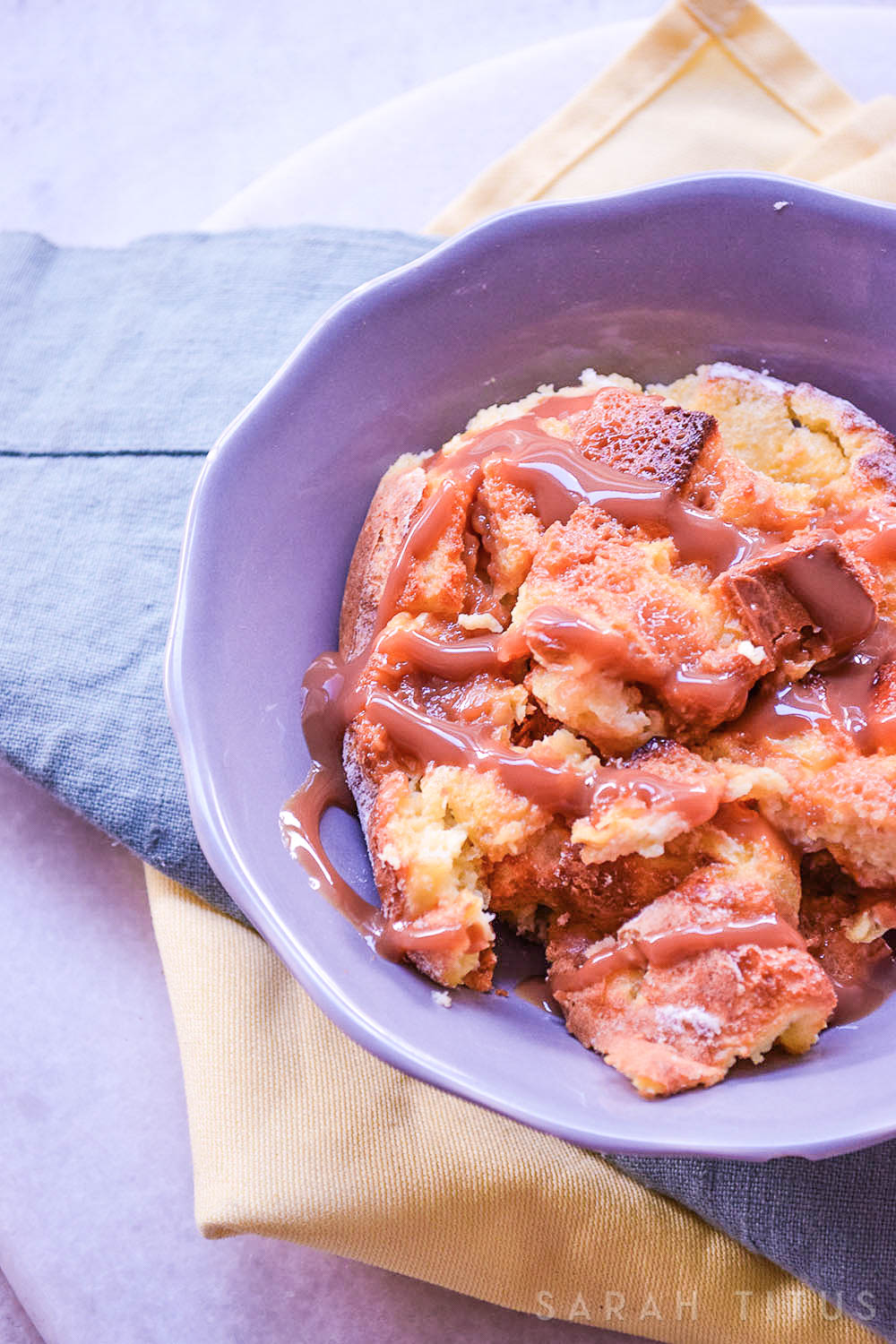 "Bread pudding is a really yummy dessert, and this Salted Caramel Bread Pudding is definitely delicious. This would also make a great breakfast as a great spin on ""french toast""!"