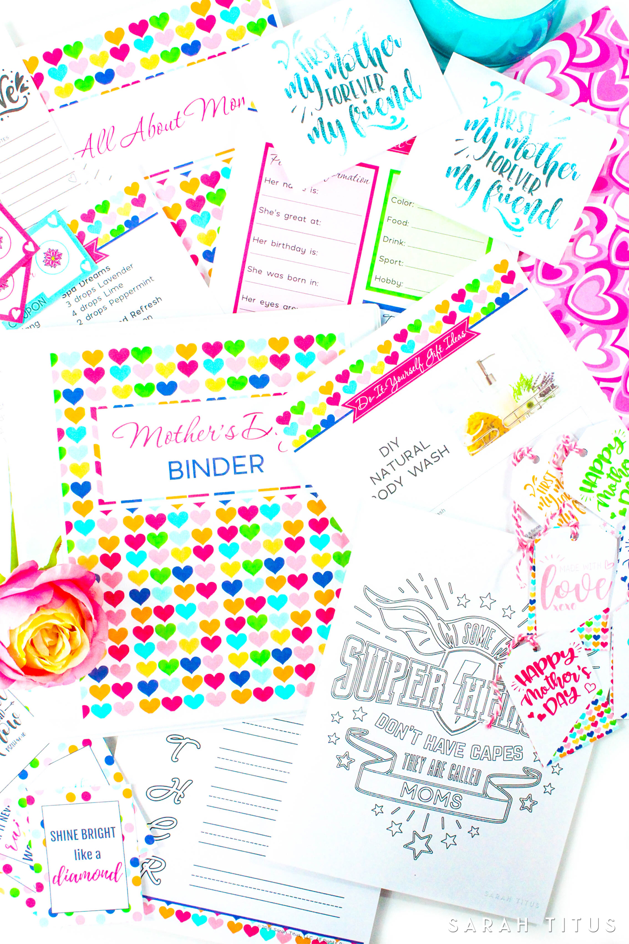 Make Mother's Day extra special for you and your family with the most beautiful and complete binder on the web! This 130+ page Mother's Day Binder includes, gift ideas, DIY gift ideas, party planner, gift tags, wall arts, activities you can do that day and so much more!