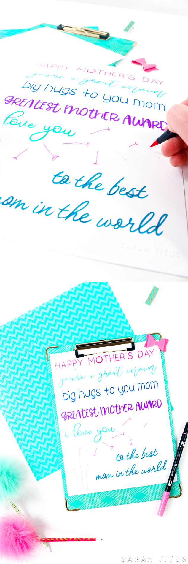 Colorful collage of blue, pink and purple Mother's Day handlettering printable