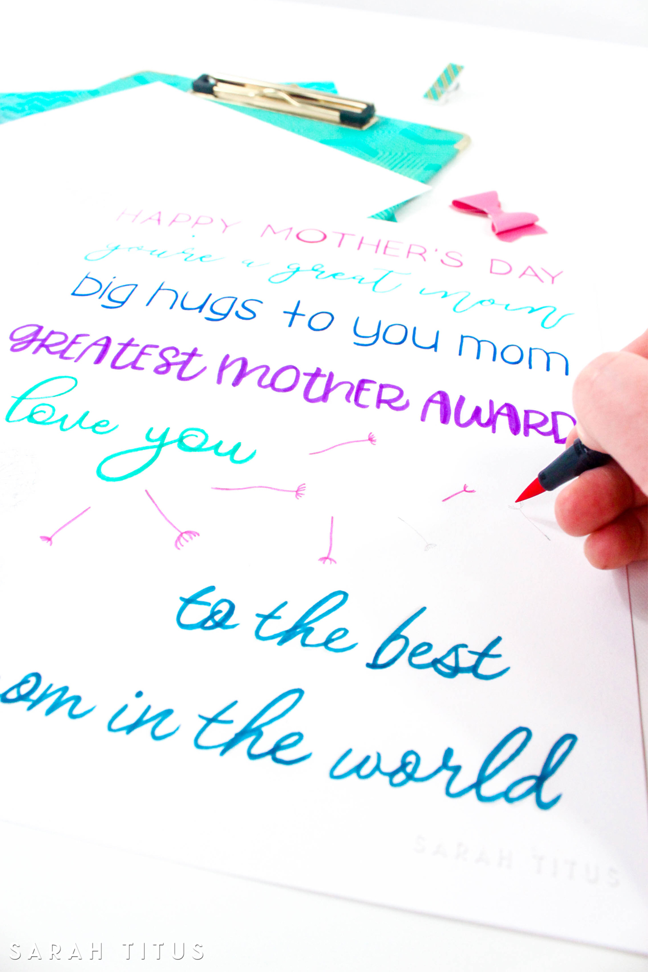 Happy Mother's Day Free Hand Lettering Practice Sheet