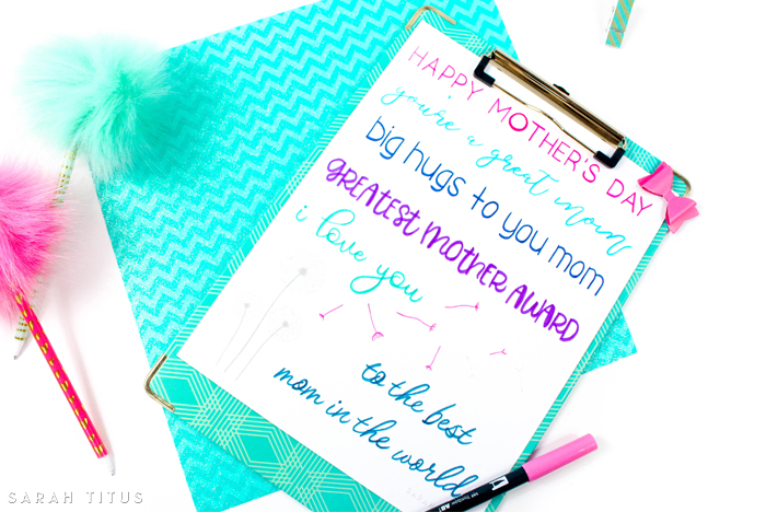 Colorful blue, pink and purple Mother's Day handlettering printable