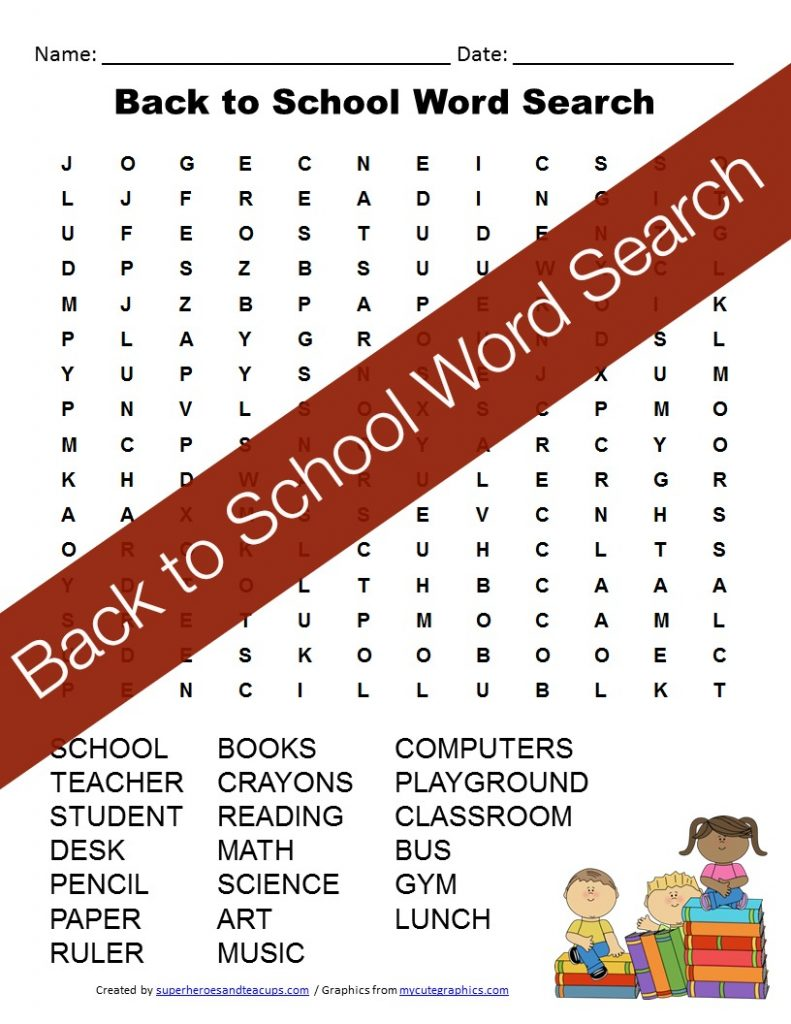Get your little ones ready and excited for school with this back to school word search.