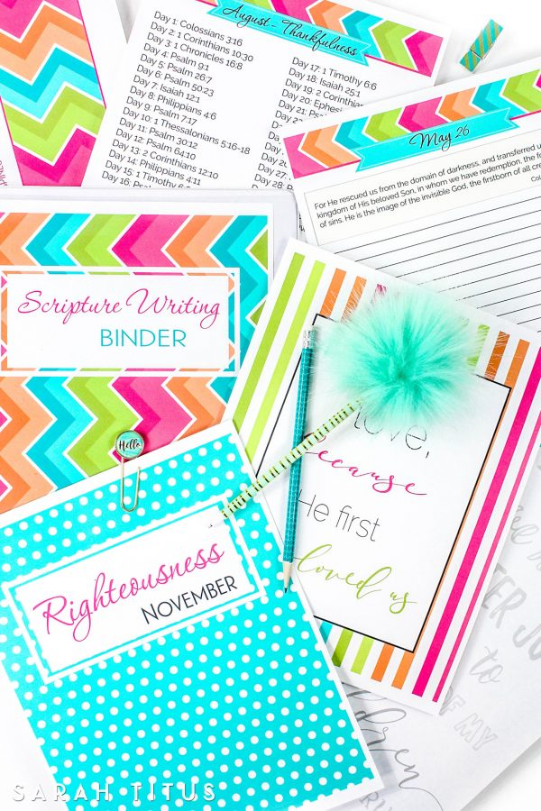This 415+ page Scripture Writing Binder includes wall art, hand lettering sheets, daily journal pages to collect your thoughts, and more. If you want to deepen your relationship with the Lord, this is a great resource! #binder #Scripturebinder #handlettering #Christianwallart #biblewriting #journaling