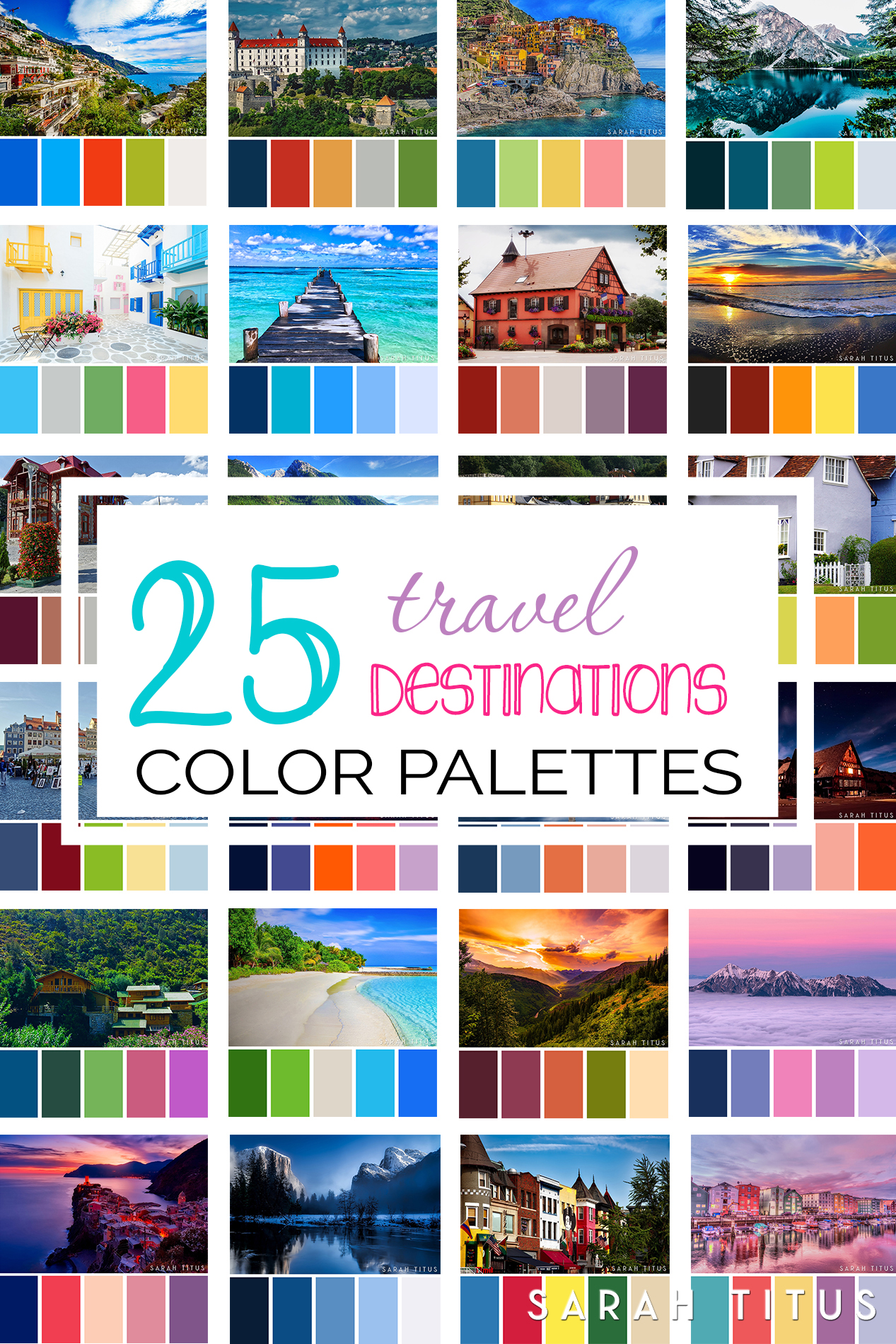 Planning a party, designing a printable, or just want to decorate your home? Get tons of inspiration from these 25 Best Travel Destinations Color Palettes! They're so gorgeous they will take your breath away. #colorpalettes #palettes #travelpalettes #colorfulpalettes #colormatch #colorsthatgowelltogether
