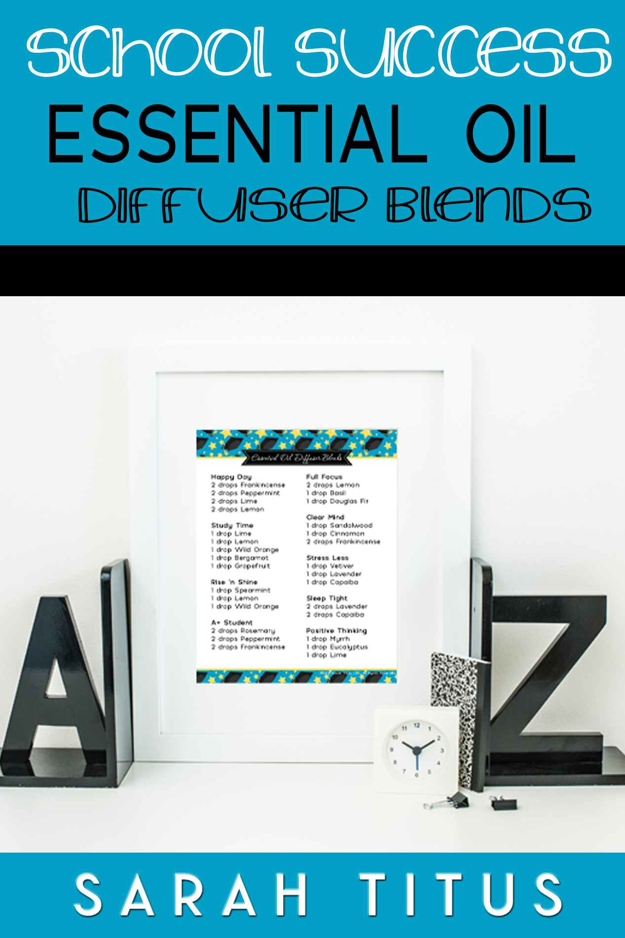 It's the end of the school year, and things are crazy. You want your kids to do well in school, you just have to keep them on track a smidge longer! These School Success Essential Oil Diffuser Blends will help affect them in a positive way! #SchoolSuccess #EssentialOils #StressLess #SleepTight #PositiveThinking