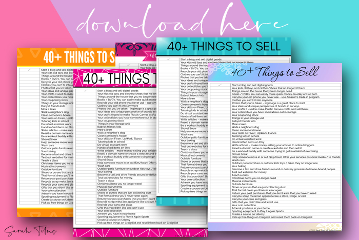 40+ Things to sell right now to make extra money, make fast cash or make money sidehustling! Find out now what you can sell to make money! #selling #makingmoney #makingextramoney